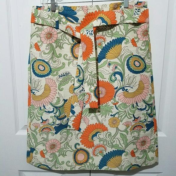 J. Crew Dresses & Skirts - J CREW Tie Waist Skirt Ornate Floral G0962 Size 10
